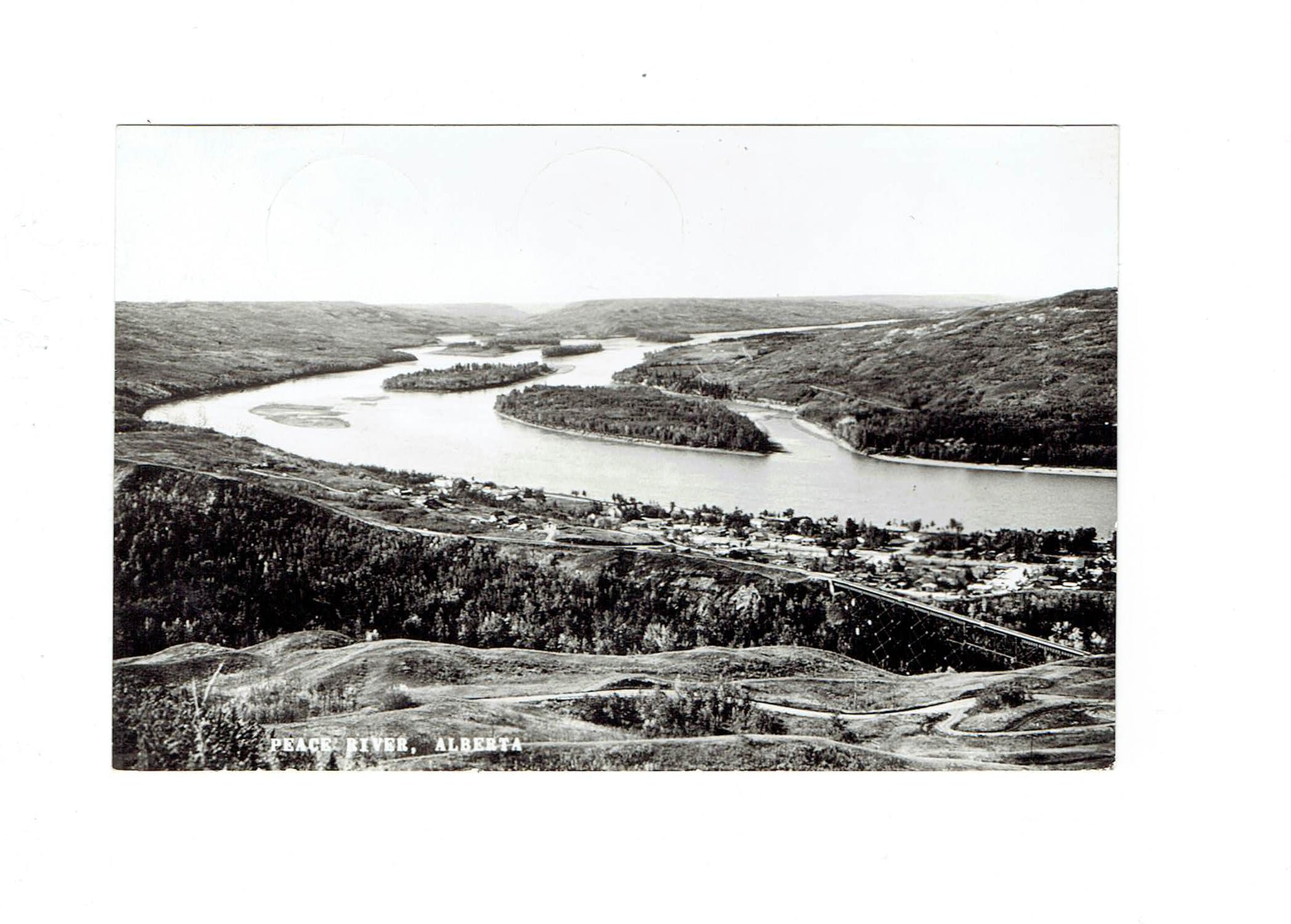 Peace River, AB. RPPC Postcard. Photo Overlooking Peace River. Canada.