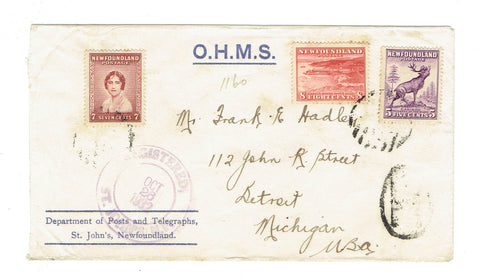 NL. St John's. OHMS Registered Cover. To Detroit, MI. Oct. 26, 1932. Canada