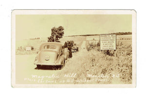 Moncton, NB. Automobiles On Magnetic Hill, 1947. RPPC Postcard. Canada