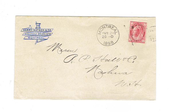 "Montreal QC. 1898 Advertising Cover ""Wholesale Druggists"" Kerry Waston & Co. Canada"
