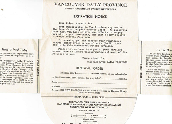 BC. Vancouver Daily Province Newspaper Renewal Subscription Form. Canada.