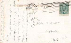 "Sapperton, BC. 1908 Split Ring Broken Circle (1891-1912) RF ""D"" On Canada Postcard"
