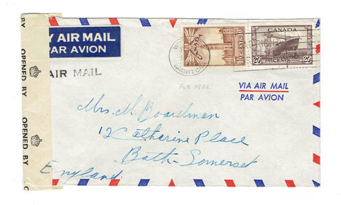 MB, Winnipeg. 1943. Airmail Cover. 30 Cents, Censor Tape. To Bath, Sommerset, England. Canada