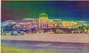 U.S.  Municipal Airport at Night, Kansas City:,Linen Postcard