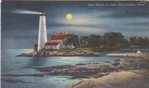 LINEN POSTCARD -- Lighthouse, New London, Conn