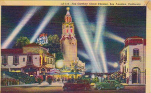 LINEN POSTCARD -- Fox Carthay Circle Theatre, Los Angeles, California, U.S.A.