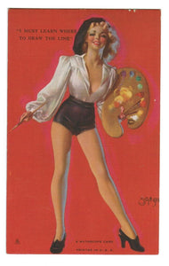 ARTIST ZOE MOZERT.  PIN UP GIRL.  MUTOSCOPE ARCADE VINTAGE EXHIBIT CARD.