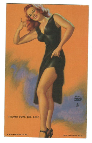 PIN UP GIRL EARL MORGAN ARTIST.  EXHIBIT ARCADE MUTOSCOPE CARD.  VINTAGE.  1940'S