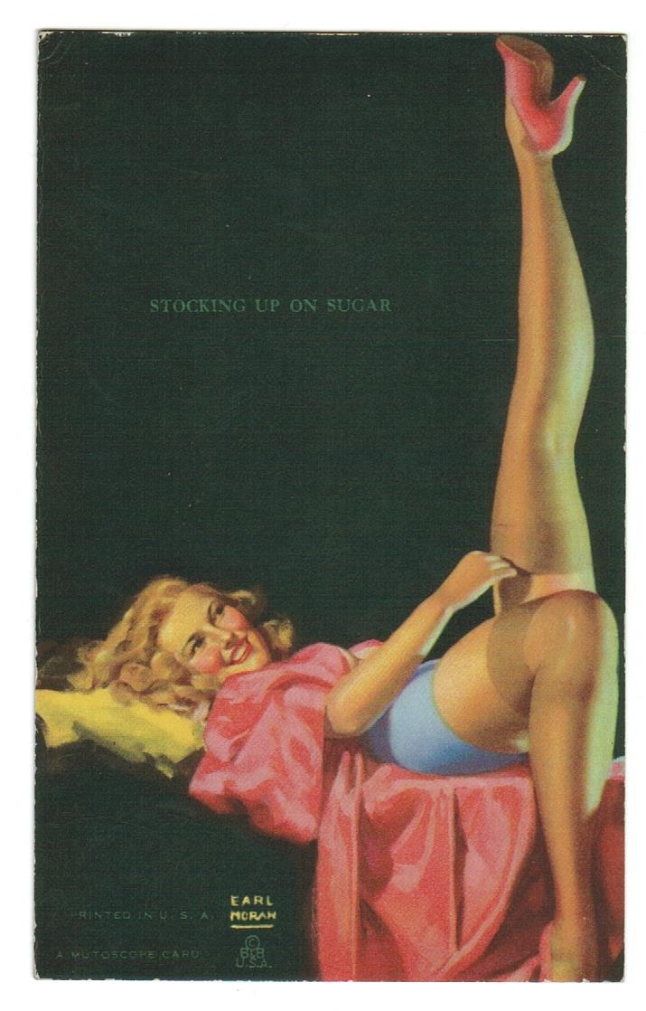 "ARTIST EARL MORGAN  ""STOCKING UP ON SUGAR.""  PIN UP GIRL EXHIBIT ARCADE CARD."