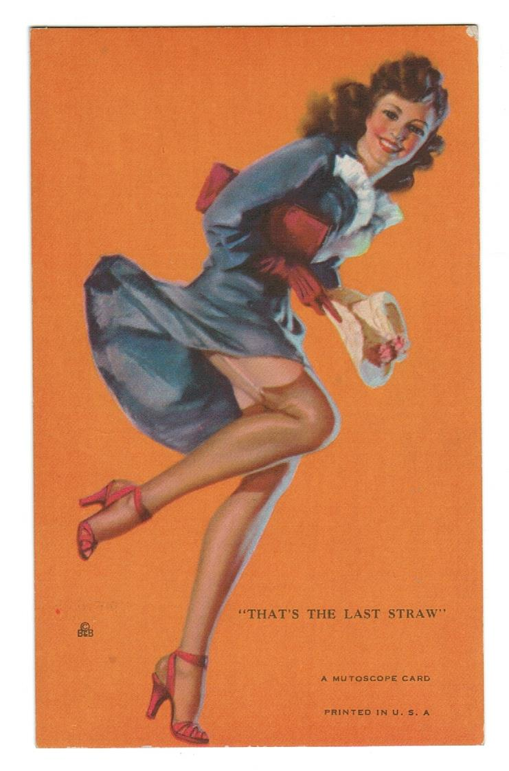 "PIN UP GIRL 1940'S.  MUTOSCOPE EXHIBIT ARCADE CARD.  ""THAT'S THE LAST STRAW"""