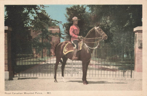 RCMP Member On Horseback At Gated Entrance. Canada Postcard