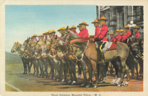 Royal Canadian Mounted Police Members On Horseback. Canada Postcard