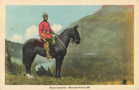 Royal Canadian Mounted Police Officer On Horse. Distant Mountain View. Canada Postcard