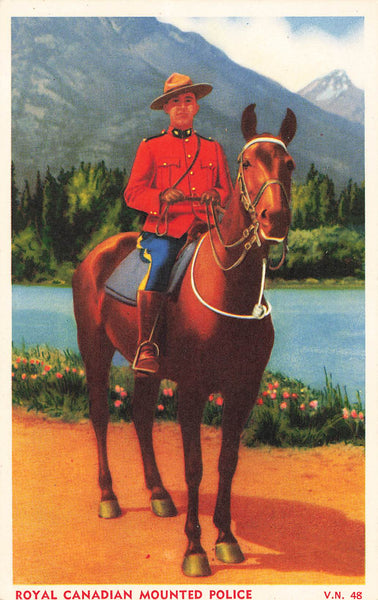 RCMP Officer On Horseback With Mountain And Lake Background. Canada Postcard