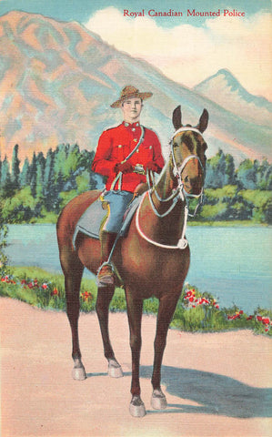 RCMP Officer On Horseback With Mountain Background. Canada Postcard