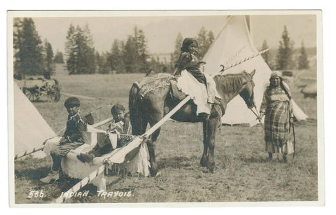 "BYRON HARMON RPPC #536  ""Indian Travois""  Canada Postcard"