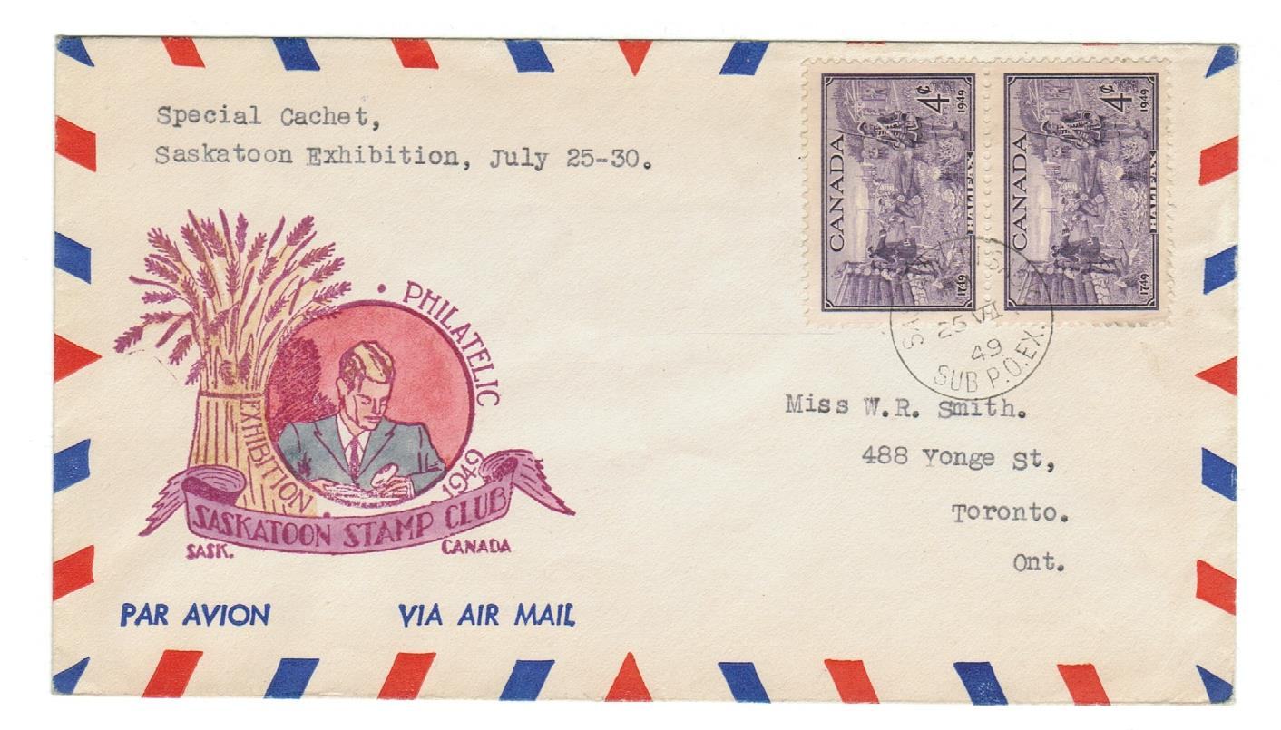 HAND PAINTED CACHET. SASKATOON STAMP CLUB. JUNE 25, 1949.  AIRMAIL TO TORONTO, ONTARIO, CANADA