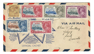 FOREIGN DESTINATION TO CANADA.  ANTIGUA, ST. JOHN'S, OCT25 1935.  SILVER JUBILEE TO YOUNG, SASK. B/S.