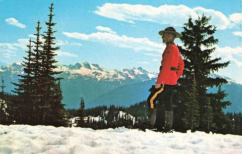 Revelstoke, BC. RCMP Officer On Mt. Revelstoke. Canada Postcard.