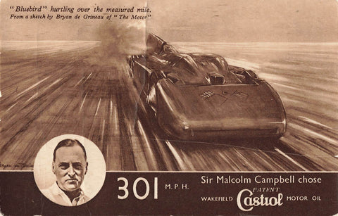 Castrol Oil Advertising Postcard. British Racing Motorist Sir Malcolm Campbell Chose Castrol
