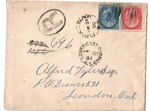 PUBNICO BEACH N.S. 1900 SPLIT RING BROKEN CIRCLE REGISTERED CANADA COVER TO ONTARIO TIED LOWER EAST PUBNICO. BOTH DISCONTINUE POST OFFICES B/S RPO'S X (2) NUMERAL ISSUE