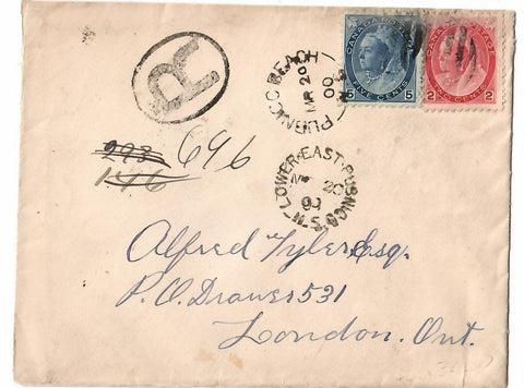 PUBNICO BEACH N.S. 1900 SPLIT RING BROKEN CIRCLE REGISTERED CANADA COVER