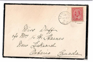 MOURNING COVER LETHBRIDGE AB. ALBERTA 1906 TO ONTARIO CANADA. TWO LETTERS ENCLOSED