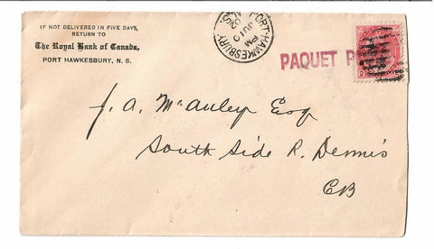 "FAKE FAKE ""PAQUET"" 1902 HAWKSBURY N.S. TO RIVER DENNIS STATION (1892-1926) CANADA COVER B/S"