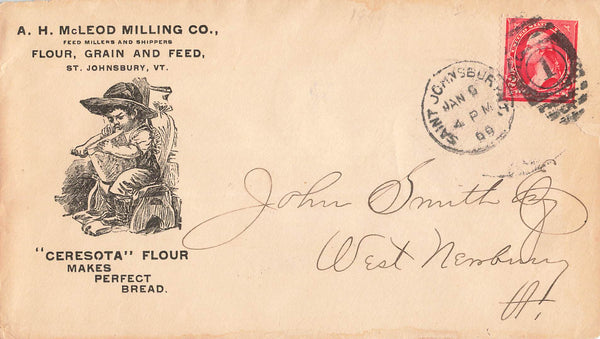 St. Johnsbury, VT. 1899 Illustrated Advertising Cover. A.H. Mcleod Milling Co. B/S. USA