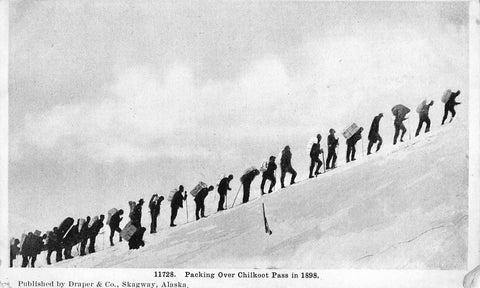 Yukon. Postcard. 1898. Packing Over The Chilkoot Pass. Canada