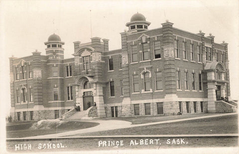Prince Albert, SK. RPPC Postcard. High School. Canada