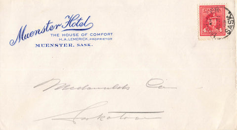 Muenster, SK. 1949 Hotel Advertising Cover. Canada