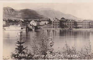 Atlin Lodge, looking from First Island, BC, 1920's, RPPC, nd
