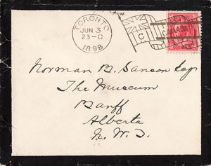 "Toronto, ON. 1898. Flag ""C"" On Mourning Cover. Territorial Period. To Banff, AB, NWT"