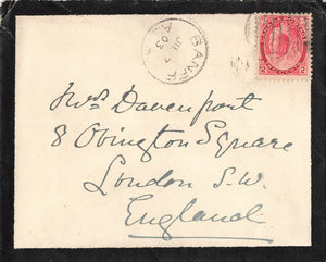 Banff, AB. Canada. 1903 Mourning Cover. Sent In Territorial Period. To England