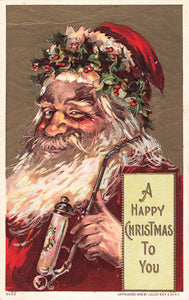 Vintage Christmas Greeting Postcard. Santa With Red Suit And Pipe
