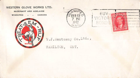 Winnipeg, MB. 1942 Multi Coloured Advertising Cover. Western Glove Works Co. Canada