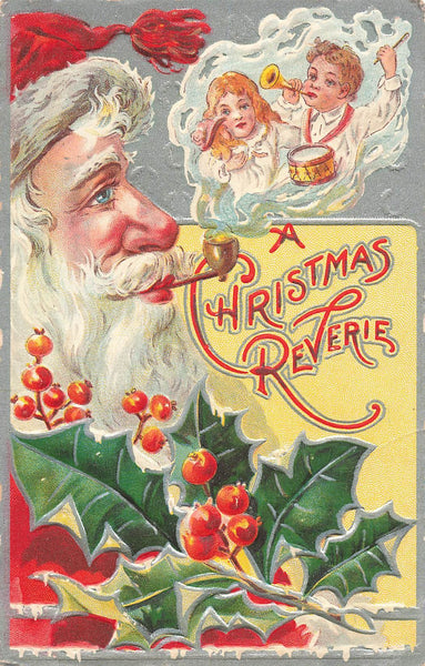 Vintage Santa Claus With Pipe Christmas Greeting Postcard