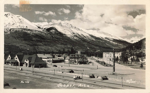 Jasper, AB. Overhead View Of Railway Depot And Townsite. Canada RPPC Postcard