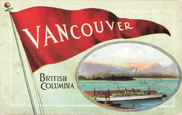 Vancouver, BC. Flag Postcard. Pacific Publishing Co. Canada