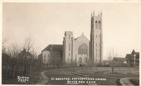 Moose Jaw, SK. St. Andrews Presbyterian Church. RPPC Postcard. Canada