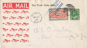 CL40-2705. Semi Official Airmail Cover. Bissett, MB 1927 To Lac Du Bonnet 1927. Four Line. Canada