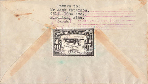 CL48-3102. Semi Official Airmail Cover. Aklavik To Miami, FL. 1931 B/S. Canada