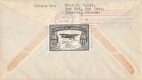 CL48-3102. Semi Official Airmail Cover. Aklavik To Miami, FL 1931. Canada