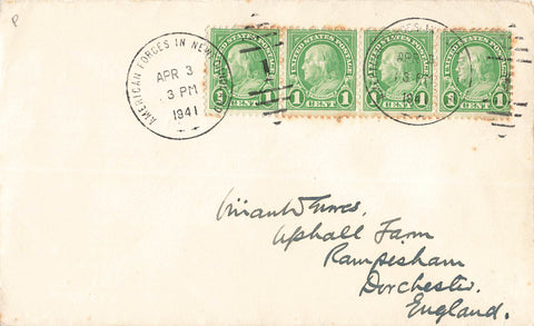 USA Military. 1941. WWll Cover. From Newfoundland To England. Canada