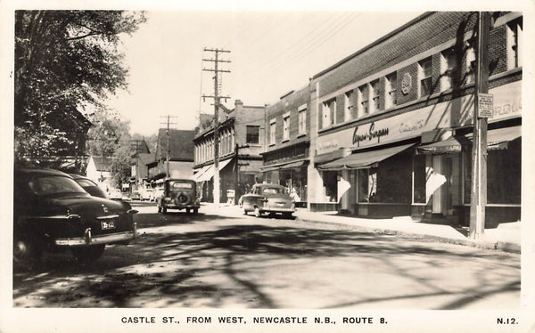 Newcastle, NB. Castle Street. From The West. Postcard. Canada