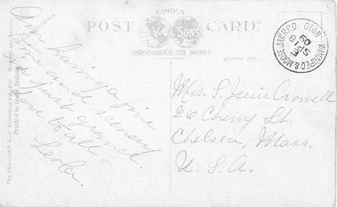 Canadian Rockies Postcard. RPO Winnipeg & Moose Jaw. RPO No. 10. E September 18, 1909