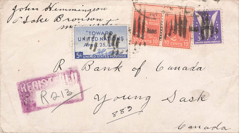 Lake Bronson, MN. 1945 Registered USA Cover. Prexies (X2) To Young, SK.