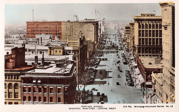 Winnipeg, MB. Portage Avenue Looking West. Canada Hand Coloured RPPC Postcard