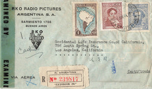 Buenos Aires, AR. 1944 Registered Air Mail Censored Advertising Cover. RKO Radio Pictures